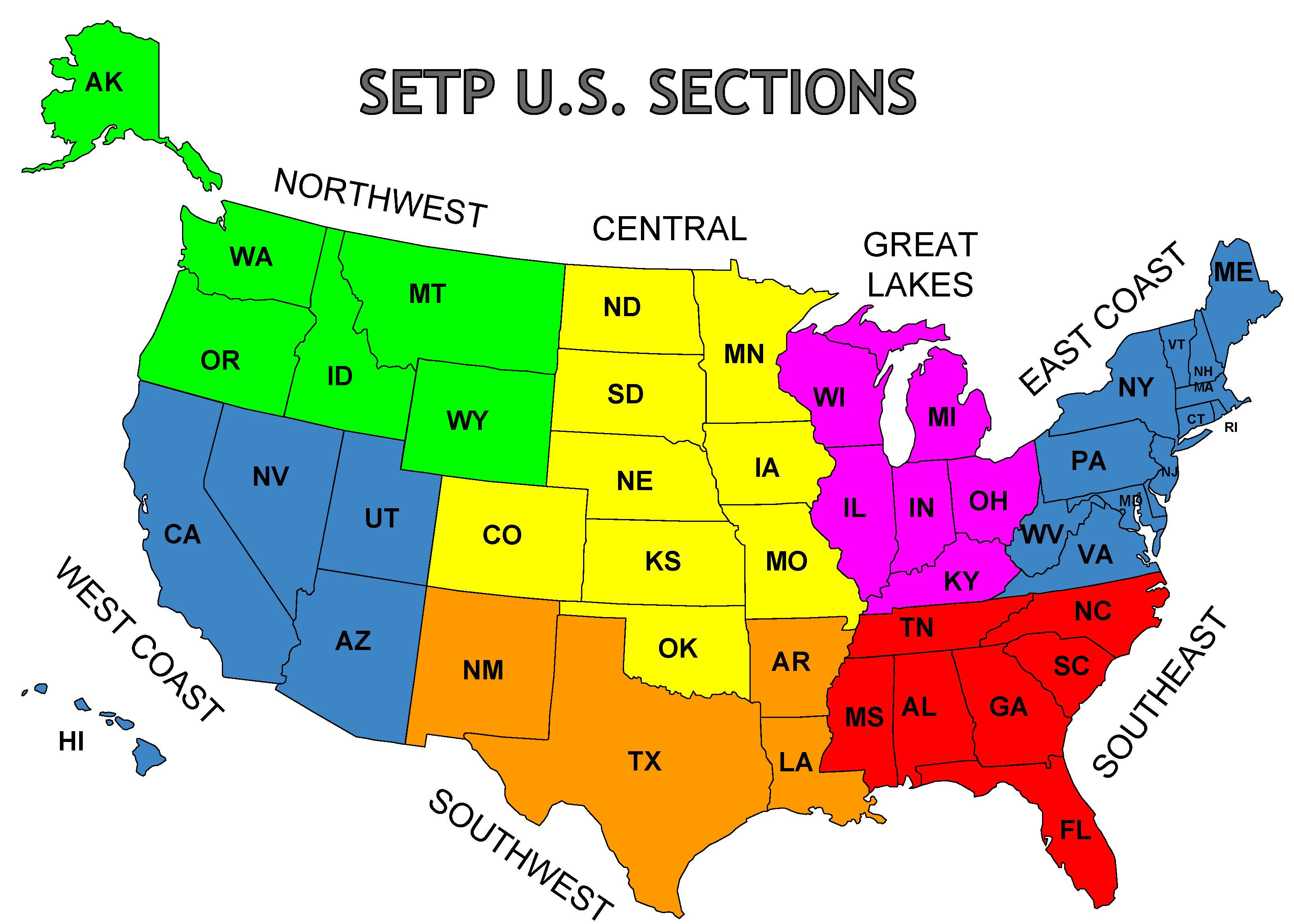 Map Of Setp Us Sections Setp Sections Us Map Sections