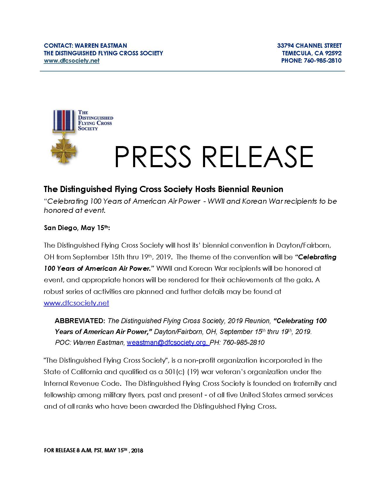 Press Release DFC Society Reunion 2019